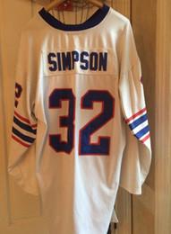 Опт Дешевые ретро 1969 #32 OJ Симпсон Джерси синий белый мужские шить с длинными рукавами футболки Толстяк большой и высокий 4XL 5XL 6XL NCAA