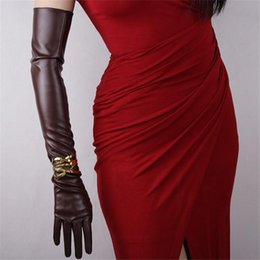 Leather fingerLess online shopping - Ultra Long Leather Gloves cm Long Emulation Genuine Leather PU Gloves Female Unlined Women PU P15