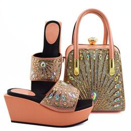 Colorful Rhinestone Wedding Dresses Australia - New fashion peach women boat shoes match handbag set with colorful rhinestone decoration african pumps and bag for dress MD009,heel 9CM