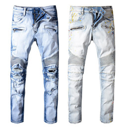 China 2019 Balmain Fashion New mens Biker Jeans Motorcycle Slim Fit Washed Blue Moto Denim skinny Elastic Pants Joggers For Men jeans cheap new style skinny jean men suppliers