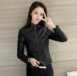 afd8935f2908b Feierhaosi Spring Autumn Women Leather Jacket PU Leather Coat Motorcycle  Jacket Mandarin Collar Plus Size Soft Coat For Women