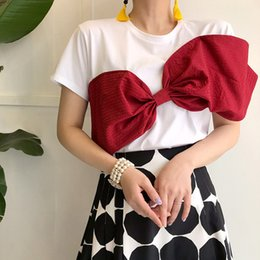 $enCountryForm.capitalKeyWord NZ - Summer T-shirt Women Big Bow Solid Cotton Casual White Harajuku Tops Short Sleeve O-neck Tee Shirt 2018 Tees High QualityY19042002