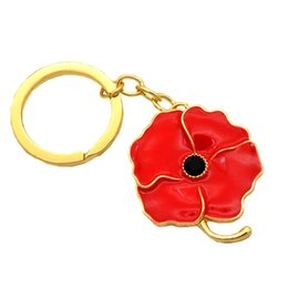 lovers gift flower UK - Gold Tone Red Enamel Red Poppy Flower Keychains Nice Jewelry Gifts