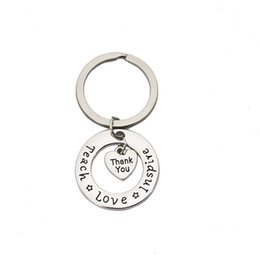 Keychain bucKle gold online shopping - Geometry Alloy Letter Key Buckle Anti Wear High Hardness Keys Ring Thank You Teach Love Inspire Keychain Universal hl I1