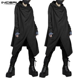 trench coat men punk 2021 - INCERUN Men Trench Coats Long Sleeve Solid Streetwear Punk Style Men Cloak Cape Retro Chinese Style Irregular Jackets Plus Size