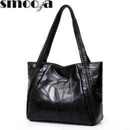 Sheepskin Hand Bag Australia - Smooza Women Large Handbags Genuine Sheepskin Patchwork Casual Hand Bags Ladies Crossbody Bags Big Capacity Woman Shoulder Bag J190508