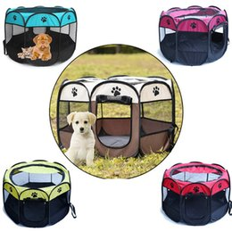 plastic fencing 2019 - Removable And Washable Folding Folding Octagonal Pet Fence Eight-sided Waterproof Small Dog Oxford Cloth Cat Dog Tent di