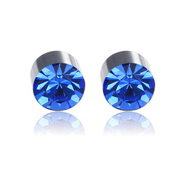 Fashion Women Round Crystal Heart Clip Earrings Color Drill Without Ear Hole Earring Strong Magnet False Ear Earring Earrings Clip Earrings