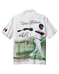 Signature Paintings Australia - Beige White Men Silk Short Sleeve Back Embroidery Shirt Bat Ball Davis Ortiz Signature Limited Edition