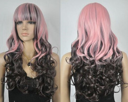 $enCountryForm.capitalKeyWord Australia - Pink + Dark brown Mixed Long Wavy Women Cosplay Wig Lady Girls Cosplay Peluca Products WIGS