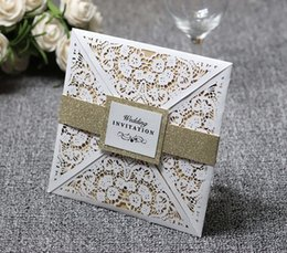 $enCountryForm.capitalKeyWord NZ - Customize High Quality Wedding Invitation Cards Lace Hollow White Elegant Solid Invitations Pocket Square Laser Cut Invitations Cards
