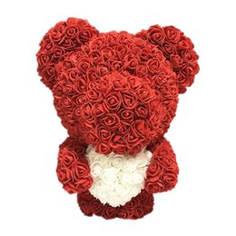 Valentines Gifts Bear UK - 23 40cm Bear of Roses Valentines Day Gift Artificial Flowers Home Wedding Festival DIY Wedding Decoration Gift Box Wreath Crafts
