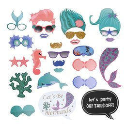 wedding prop free NZ - Free Shipping 26Pcs Mermaid Photo Booth Props Decor Party Wedding Decoration DIY Photobooth Props Event Party Supplies