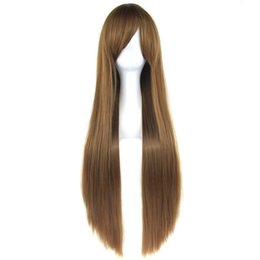 $enCountryForm.capitalKeyWord UK - 24 Colors 32 Inch Long Straight Women Synthetic Hair Wig Heat Resistant Fiber Brown Green Cosplay Wigs Hairpiece