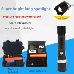portable fluorescent light NZ - Strong light flashlight LED aluminum alloy long-range King outdoor camping foreign trade gift fluorescent gift box 6 samples