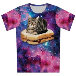 galaxy t shirts wholesale Australia - Joyonly 2019 Summer Children Funny Colorful Galaxy Bread Print T shirt Girl Boy Cool Lovely Cat Kids T-shirts Fit 4-20 Years Old