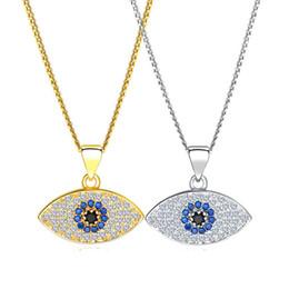 Evil Eye Pendants Turkey Australia - 2019 Lucky Evil Eye Pendant Necklace Women 18K Gold Plated Platinum chains Zircon Turkish Jewelry Turkey Blue Eyes Charm Necklaces