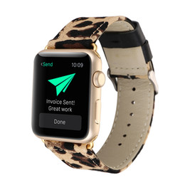 Chinese  Fashion Leopard Print Leather and Denim Fabric Watch Band Strap For Apple Watch Series 4 3 2 1 44mm 40mm 38mm 42mm manufacturers