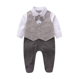 Discount baby clothes anchors Baby anchor printed romper toddler kids Bows tie waistcoat fake two piece jumpsuits infant newborn kids cotton diaper ba