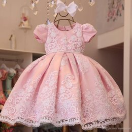 girls pageant dresses baby pink Australia - New Girls Pageant Dresses Pink Toddler Sheer Crew Neck Lace Appliques Ball Gown Princess Cute Baby Girls Flower Girl Dress