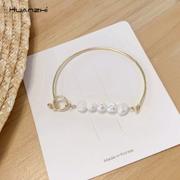 D shapeD jewelry online shopping - HUANZHI Korean New Irregular Natural Freshwater Pearl Geometric D Shape Office Style Jewelry Sweet Bangle for Women Girls