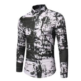 Mens Black Shirt Patterns NZ - Brand 2019 Fashion Male Shirt Long-sleeves Chinese Style Tops Simple Inkjet Pattern Mens Dress Shirts Slim Men Shirt Xxxl