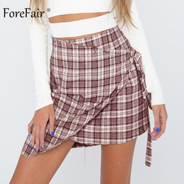 d6c3d208e0 Beige Plaid Skirt Australia - wholesale Plaid High Waist Skirt Beach Summer  Streetwear Vintage Korean Lace