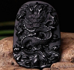 necklaces pendants Australia - Opening men and women models large natural obsidian jade pendant men's zodiac dragon brand necklace jade pendant pendant