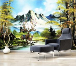 kitchen anti oil stickers UK - 3d wallpaper custom photo mural European style landscape elk forest landscape oil painting background home decor wall picture 3d stickers