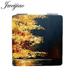 $enCountryForm.capitalKeyWord Australia - JWEIJIAO Color picture Art Sailboat Portable mirror Cloud Square leather Beauty Health Mirrors Tools Accessories pocket mirror PT59