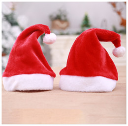 Santa clauS coStumeS for boyS online shopping - High grade Christmas Hat For Adult Kids Christmas Red Plush Hat For Santa Claus Costume Christmas Party Cap Decoration gift