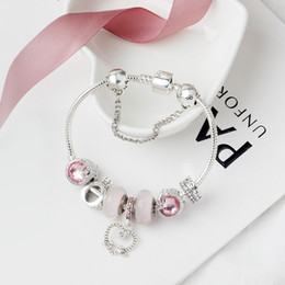 Wholesale- charm bead alloy silver plated bracelet Suitable for Pandora style O letter crown beads bracelet jewelry on Sale