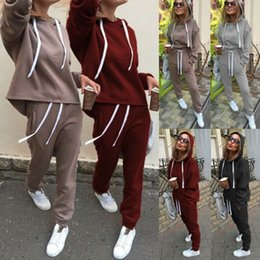 Wholesale lounge clothing for sale - Group buy Retro Fashion Casual Women Clothes Set Long Seleeve Hoodies Sports Tops Pants Tracksuit Sweatshirt Lounge Wear Casual Suit