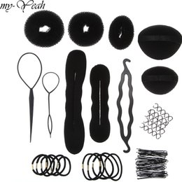 ponytail tools NZ - braider 14pcs set DIY Magic Braider Sponge Donut Bun Fluffy Pads Spiral Hair Twist Hairpins Ponytail Twist Hairstyling Tools Set