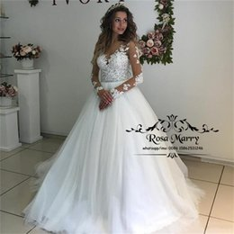 $enCountryForm.capitalKeyWord Australia - Modest Plus Size Long Sleeves Wedding Dresses 2020 A Line Illusion Vintage Lace Hippie Country Beach Cheap Vestido De Novia Bridal Gowns