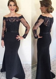 simple black mothers dresses Australia - New Black Lace Women Formal Long Party Dresses 2019 Mermaid Mother of the Bride Dresses With Long Sleeves Off-Shoulder Wedding Guest Dress