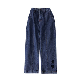 2019 Summer New Fashion Design Women's Feet Embroidered Dark Blue Jeans Ladies Loose High Waist Wide Leg Pants Nine Pants