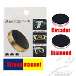 Wholesale Magnetic Mini Car CellPhone Holder Mobile Phone Diamond and Circular Mount Magnet Flat Bracket Stand Aluminium Alloys Metal Sticker
