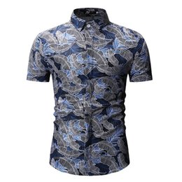Mens Plus Size Silk Shirts UK - 2019 Fashion Mens Short Sleeve Silk Hawaiian Shirt Plus Size Summer Casual Floral Shirts Trendy Slim Print Short Sleeve Shirt
