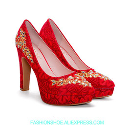 Wedding women s shoes waterproof table thick red wedding shoes bride  national style Chinese style shoes embroidery high heels 3770b1fc8a5c