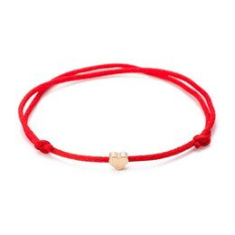 $enCountryForm.capitalKeyWord UK - Red String Thread Gold Color Heart Charm Bracelet For Women Handmade Adjustable String Lucky Bracelet Rope Friendship Jewelry