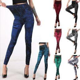 Floral tight pants online shopping - Women s jeggings Fashion imitation denim jeans tights slimming spandex leggings push up hip super elastic pants skinny capri S XXXL colors