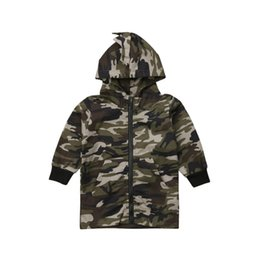 Discount boys camouflage jacket - New Autumn Winter Clothes Children Boy 3D Dinosaur Camouflage Hooded Jacket Coat Fashion Outwear Kids Clothing for 2-7Y