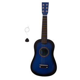 Wholesale kids guitars for sale – custom 23 inch Children Kids Black Acoustic Guitar Beginners Practice Acoustic Colors Guitar with Pick String Musical Instruments US Stock