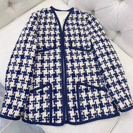 5286b35a73ed0 Women Tweed Jacket 2019 Women s Spring Autumn Long Sleeve Jacket Coat With  Pockets Fashion Work Style Outwear