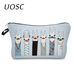 Animal Travel Pillows Australia - UOSC 3D Unicorn Printing Cosmetic Bags Cute Animal Heart Organizer Women Girl Makeup Necessaries For Travel Gifts