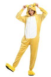 $enCountryForm.capitalKeyWord UK - Cartoon Yellow Rilakkuma Pajamas for Adults Long Sleeves Hooded Unisex Home Wear Mascot Costumes Sleep Wear Night Party Wear Warm