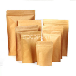 kraft paper zipper foil Australia - 100pcs Kraft Paper Self Standing Resealable Zipper Pouch Bags Aluminum Foil Heat Seal Valve Bag Custom LOGO Printing accept