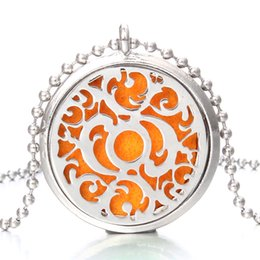 Exotic Pendants Australia - New Exotic Aroma Diffuser Necklace Open Silver Lockets Pendant Perfume Essential Oil Aromatherapy Locket Necklace With Pads