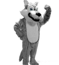 $enCountryForm.capitalKeyWord UK - 2019 High quality Grey Wolf Mascot Mascot Costumes Halloween Cartoon Adult Size Long Plush Wolf Aniaml Fancy Party Dress